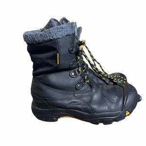 KEEN Boys Basin Snow Boots Black Yellow Sz 5